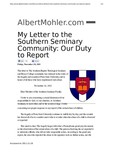 My Letter to the Southern Seminary Community: Our Duty to Report