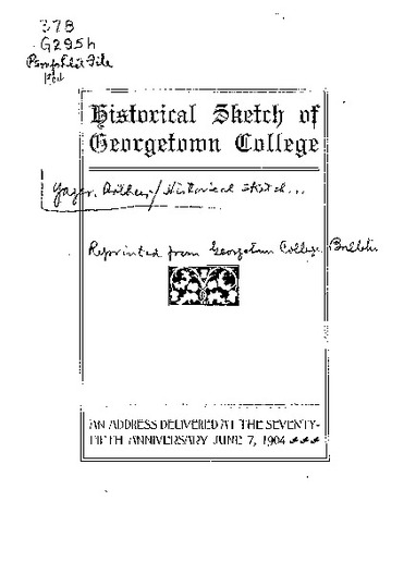 Historical Sketch of Georgetown College : an address read at